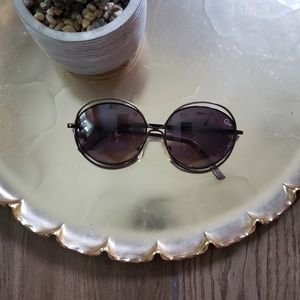 Quay brown metal round sunglasses sunnies